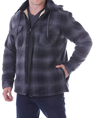 Woodland Supply Co. Men's Plaid Flannel Fleece Sherpa Lined Warm Hooded Jacket (Medium, Black/Dark Grey)