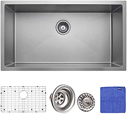 Enbol Sdc 3018 Sk 30 Inch Extremely Durable Nano Titanium Plating Coating Stainless Steel Kitchen Sink Undermount Single Bowl With Bottom Grid And Strainer Amazon Sg Home Improvement