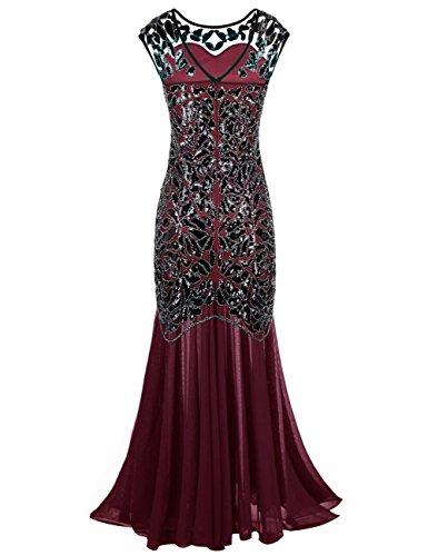 Borgogna Floreale Flapper Kayamiya Perline Donne Vestito Maxi Paillettes 1920 Gatby Prom Lungo wRRPqIA