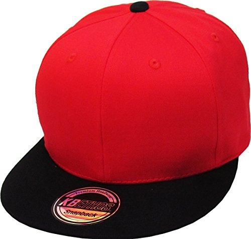KBETHOS KNW-1467 RED-BLK Cotton Snapback Solid Blank Cap Baseball Hat Flat Brim