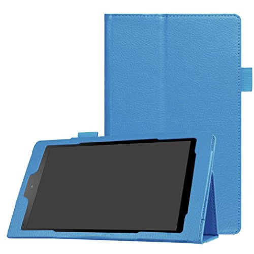 Hunputa Fashion Ultra Slim Flip Folio Case Leather Stand Cover For Amazon Fire HD 8Inch(6th Gen, 2016) (Sky Blue) ()