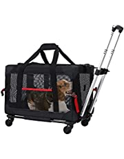 ELEGX Pet Rolling Carrier with Detachable Wheels Travel Rolling Carrier for Small & Medium Dogs/Cats up to 33 Pounds, Airline Approved