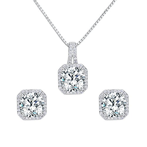 b030780d0 EleQueen 925 Sterling Silver Cubic Zirconia Square Bridal Pendant Necklace  Stud Earrings Jewlery Set