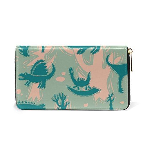 Womens Wallet Clutch Around Organizer TIZORAX Purses Handbags Zip And Dinosaurs zaxwp5O