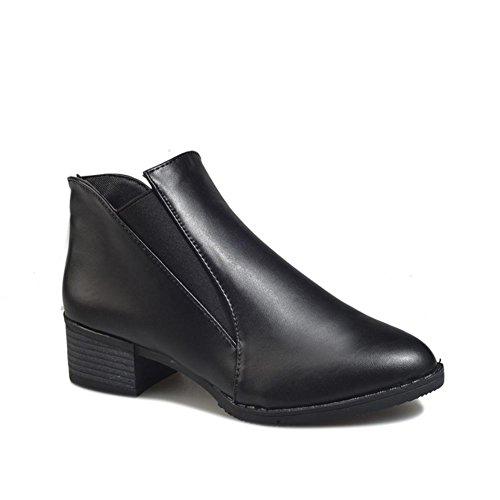 AIURBAG Mujer Zapatos PU Invierno Botas hasta el Tobillo Botas Dedo Puntiagudo Botines/Hasta el Tobillo Para Casual Negro Plata black