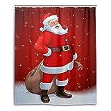 Purewing 71''x 71'' Christmas Shower Curtain, Xmas Decor Santa Claus Merry Christmas Print, Waterproof Mildew Resistant Polyester Fabric Shower Curtain, Bathroom Curtain (Santa 1)