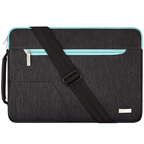 MOSISO Laptop Shoulder Bag Compatible with 15-15.6 inch MacBook Pro, Ultrabook Netbook Tablet, Polyester Protective Briefcase Carrying Handbag Sleeve Case Cover with Side Handle, Black & Hot Blue