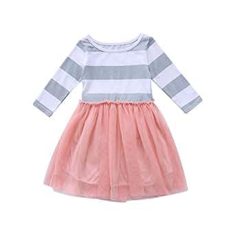Baby Toddle Girls Tutu Dress Short Sleeves Stripe Tulle Skirts Mini Dress (2T(2-3Years), Pink-Long sleeves)