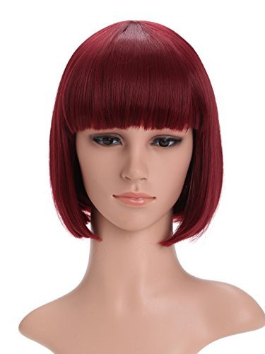 LOUISE MAELYS Ladies Candy Color Straight Flat Bang Short Bob Hair Cosplay Wigs ()