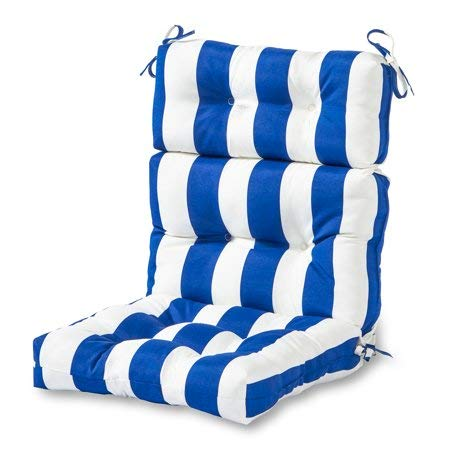 Greendale Home Fashions* Indoor/Outdoor High Back Chair Cushion, Cabana Stripe Blue
