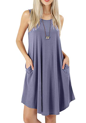 peassa Women Casual T Shirt Flowy Tank Shift Dress with Pockets Daybreak M