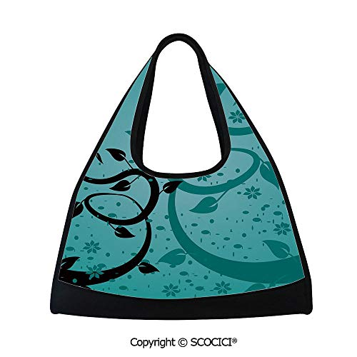 Short distance travel bag,An Abstract Floral Arrangement Nature Winding Tendrils Design Flora Drawing Style Decorative,Sports and Fitness Essentials(18.5x6.7x20 in) Turquoise Black