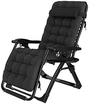 サンラウンジャー、無重力寝椅子ラウンジパティオラウンジチェア椅子折りたたみ椅子屋外調節可能なリクライニングチェアビーチキャンプポータブル椅子は、綿パッドで200 kgをサポート(色:黒)