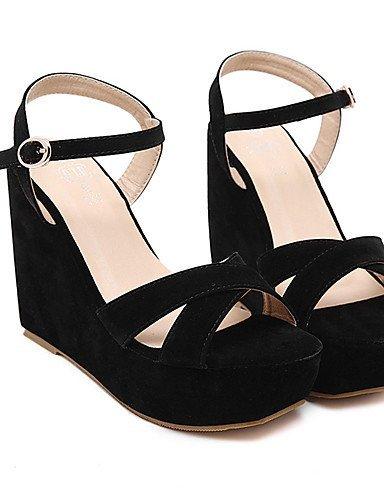 ShangYi Women's Shoes Fleece Wedge Heel Open Toe Sandals Party & Evening / Dress Black Black tz96GeP