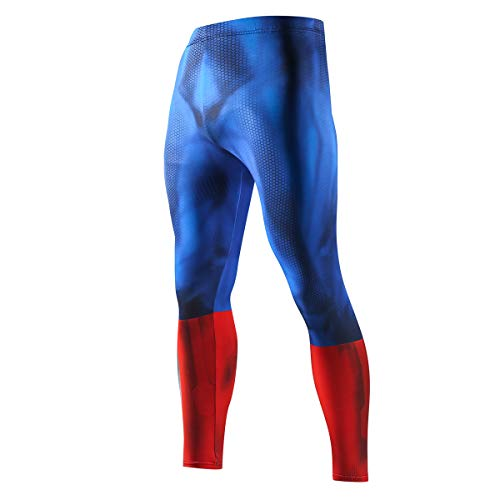 GERGER BO Men's Compression Elastic Tight Leggings Sport Spiderman Superhero Printing Pants -