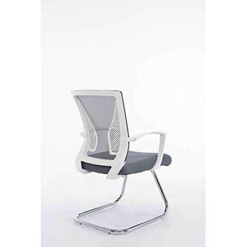 f75fc8aac54de2 Fauteuil chaise de bureau sans roulette gris tissu et métal chromé  BUR10104  Amazon.fr  Cuisine   Maison