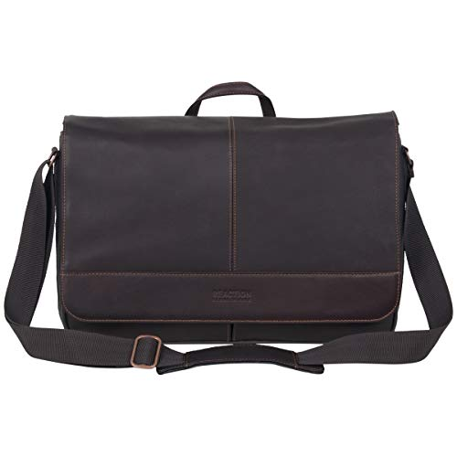 Laptop Bag Portfolio - Kenneth Cole Reaction Come Bag Soon - Colombian Leather Laptop & iPad Messenger, Brown