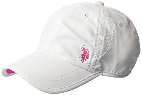 U.S. Polo Assn. Women's Nylon Mesh Baseball Cap, Gel Print Log, Adjustable, White, One Size