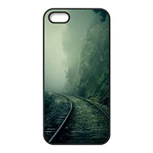 For Iphone 5/5S Phone Case Cover Foggy Train Tracks Forest Hard Shell Back Black For Iphone 5/5S Phone Case Cover 319517