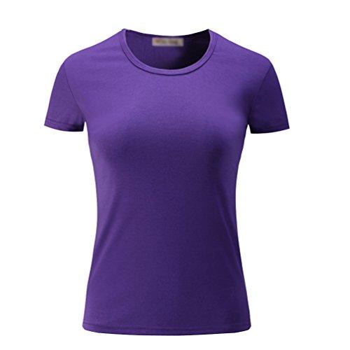 Púrpura T Blusas Camisas Mujer Básica Camisetas Cayuan shirt Corta Casual Algodón Deporte Manga Redondo Camiseta 6BvwxYg