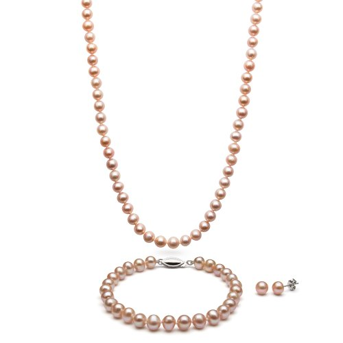 Sterling Silver Pink Cultured Freshwater Pearl Necklace Bracelet and Stud Earring Set (Bracelet Pink Pearl Real Necklace)