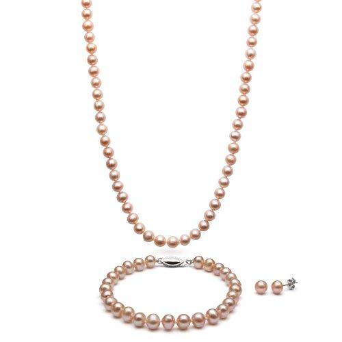 Sterling Silver Pink Cultured Freshwater Pearl Necklace Bracelet and Stud Earring Set Cultured Pearl Rose Bracelet