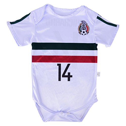 2f37a90d6 Amazon.com   World Cup Baby Chicharito  14 Mexico Soccer Jersey Baby Infant  and Toddler Onesie Romper Premium Quality - Home and Away PACK OF 2    Sports   ...