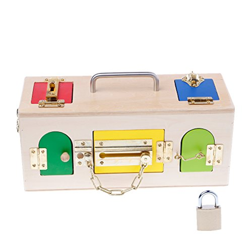 Misright Creative Montessori Colorful Lock Box Kids Children Educational Preschool Training Toys