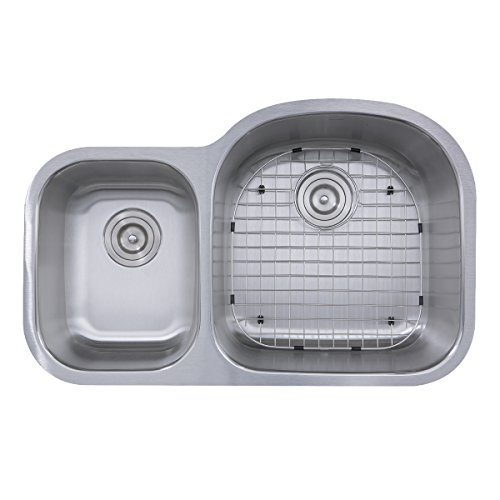 Nantucket Sinks NS7030-R-16 70/30 Reverse Double Bowl 16 Gauge Undermount Stainless Steel Kitchen, 32.5