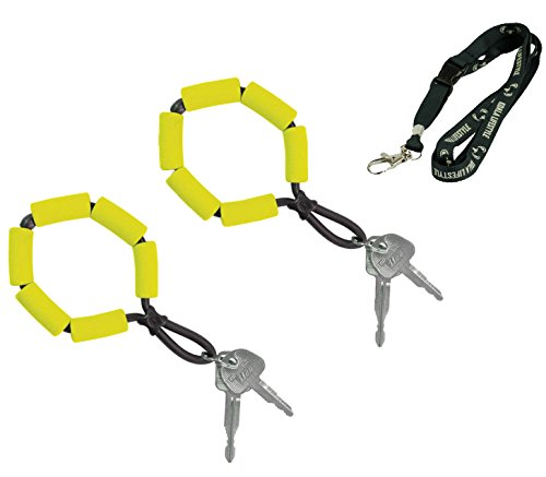 Koala Lifestyle Chums Floating Neoprene Keyring Boat Keychain | Waterproof Marine Key Chain Float Buoy Boating Accessory | Floatable Foam Key Fob for Water Sports | 2pk Bundle + Lanyard, Yellow