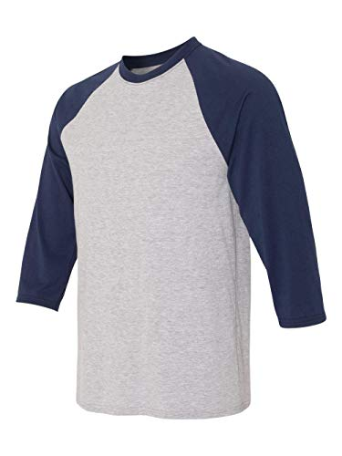 Hanes 42BA Men's X-Temp 3/4 Sleeve Baseball Tee Light Steel/Navy XL