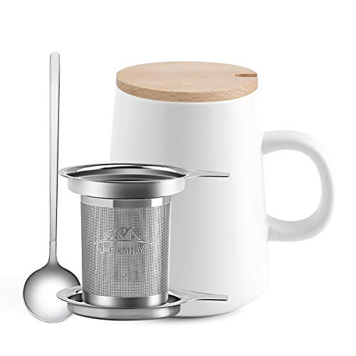 J-FAMILY Creative Matte Process Porcelain Tea Mug with Infuser,Porcelain Tea Cup with One Strainer Two Lids One Tea Spoon for Tea Brewing Coffee Brewing and Other Beverage Use,15 OZ,White