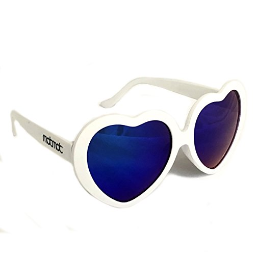 (White Heart Shaped Sunglasses for Kids, Children, Baby and Toddlers with Blue Mirror UV400 Lenses - Girls or Boys)
