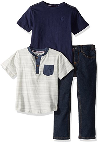 English Laundry Toddler Boys' T-Shirt and Pant 3 Piece Set (More Styles Available), HX10-Blue, 3T