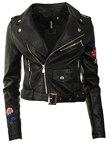 GG New Womens Faux Leather PU Embroidered Biker Zip Crop Ladies Jacket Coat