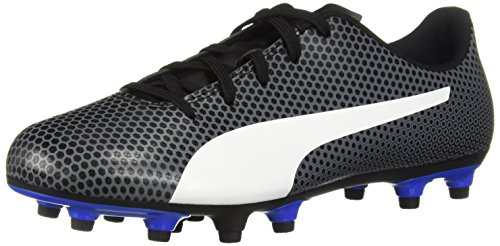 (PUMA Spirit FG Jr Soccer Shoe Black White-Iron gate-Royal Blue, 4 M US Big)