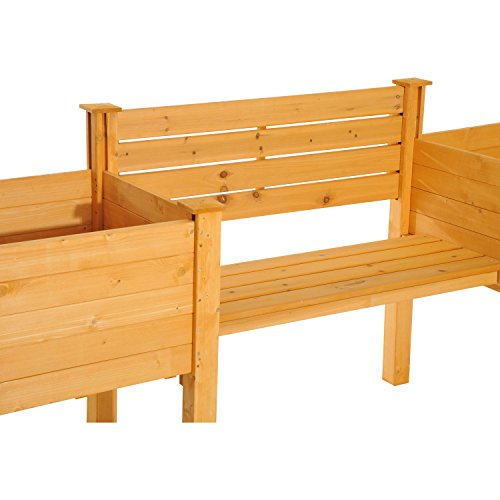 NEW Yellow Fir wood Wooden Garden Bench W/ Flower Bed Planter Patio Outdoor Furniture by Baskets, Pots & Window Boxes (Image #4)
