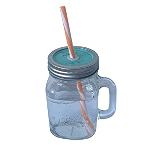 Vintage Mason Jar Mug with Handle,Lids and Straw Glass Drinking Jars 15 Oz - Blue