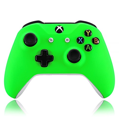 eXtremeRate Neon Green Soft Touch Grip Front Housing Shell Faceplate for Microsoft Xbox One X & One S Controller ()