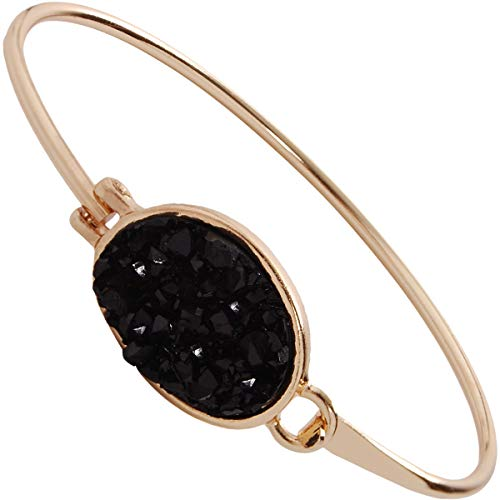(Humble Chic Simulated Druzy Cuff - Stackable Simple Thin Wire Gold-Tone Bangle Bracelets for Women, Black Oval, Simulated Onyx, Gold-Tone)