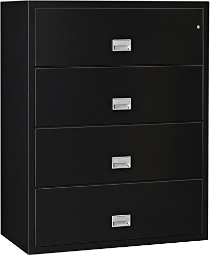 Phoenix Lateral 44 inch 4-Drawer Fireproof File Cabinet - Black