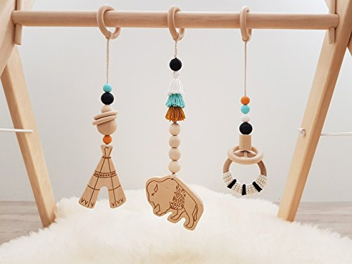 Aztec baby gym toys set of 3. Tribal. Buffalo. Southwest. Wooden play gym toys. Activity center toys. Aztec mobiles. Native american. Boho