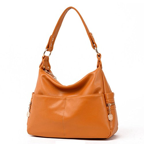 The Seventh Soft Leather Shoulder Bags Hobo Style Bag, Retro Casual Large Capacity PU Leather Tote Bag Khaki by The Seventh