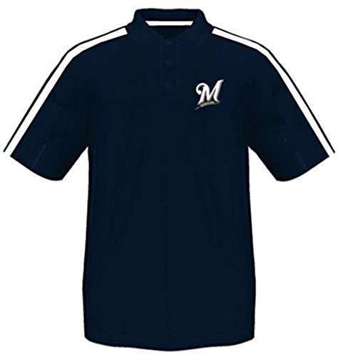 Majestic Milwaukee Brewers Synthetic Arm Polo Shirt Navy Men's Big & Tall Sizes (5XL)