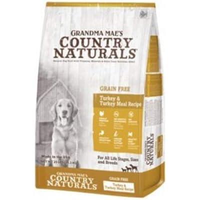 Country Naturals Grandma Mae's Grain Free Single Protein Turkey & Turkey Meal Recipe Dry Dog Food, 4 Pound Bag