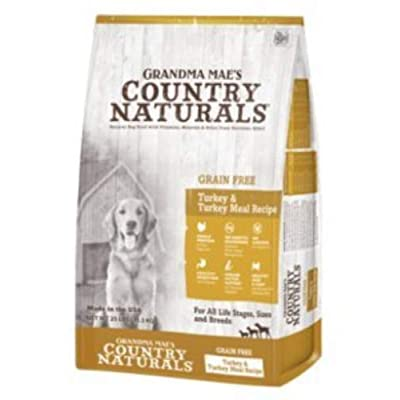 Country Naturals Grandma Mae's Grain Free Single Protein Turkey & Turkey Meal Recipe Dry Dog Food, 4 Pound Bag