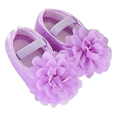 ManxiVoo Toddler Newborn Baby Girls Soft Walking Shoes Chiffon Flower Elastic Band Dress Shoes Summer Flats: Clothing