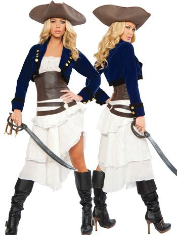[Deluxe Colonial Pirate Costume - Medium - Dress Size 6] (Scallywag Pirate Costume)