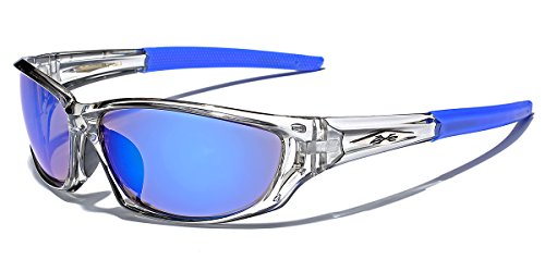 Jet Polarized Lens - X-Loop Men's Frosted Clear Frame Colorful Wrap Around Baseball Cycling Running Sports Sunglasses
