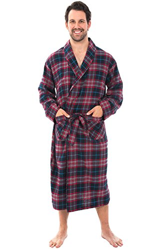 (Alexander Del Rossa Mens Warm Lightweight Cotton Flannel Robe, Small Navy Blue Red White Plaid (A0707Q38SM))
